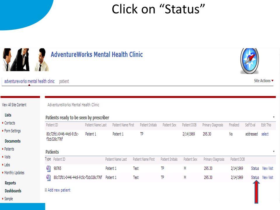 Click on Status