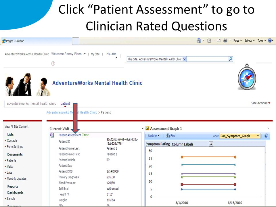 "Click ""Patient Assessment"" to go to Clinician Rated Questions"