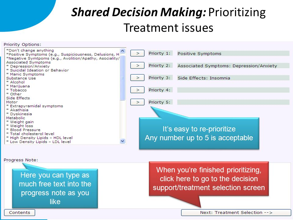 Shared Decision Making: Prioritizing Treatment issues Here you can type as much free text into the progress note as you like It's easy to re-prioritiz