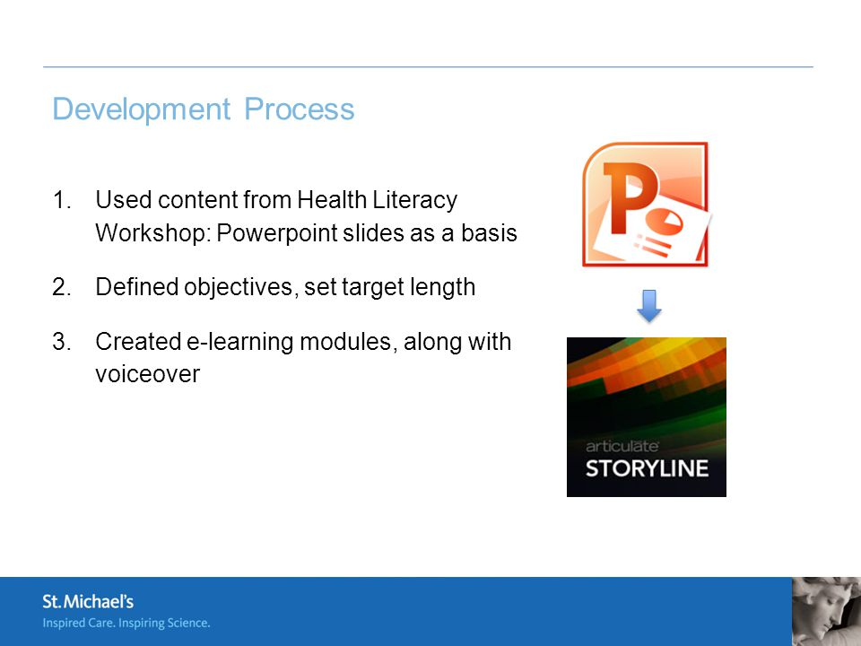 Development Process 1.Used content from Health Literacy Workshop: Powerpoint slides as a basis 2.Defined objectives, set target length 3.Created e-learning modules, along with voiceover