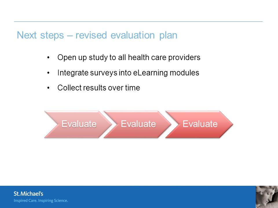 Next steps – revised evaluation plan Open up study to all health care providers Integrate surveys into eLearning modules Collect results over time Eva