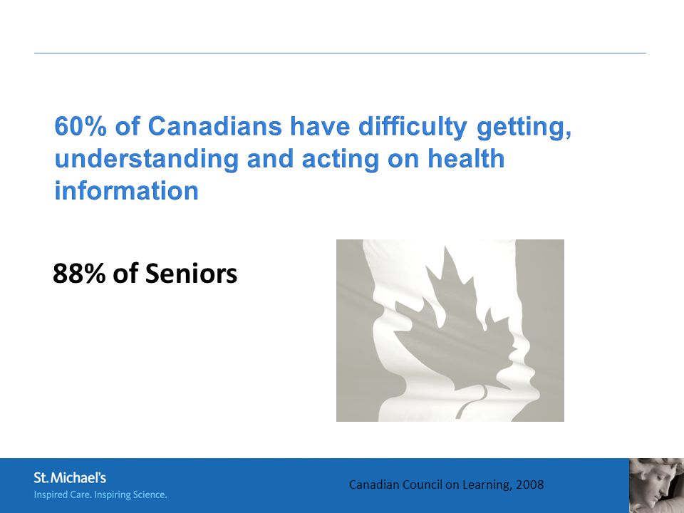 Canadian Council on Learning, 2008 88% of Seniors