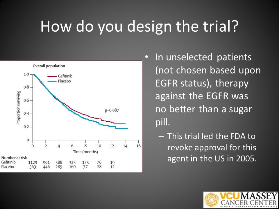 How do you design the trial? In unselected patients (not chosen based upon EGFR status), therapy against the EGFR was no better than a sugar pill. – T