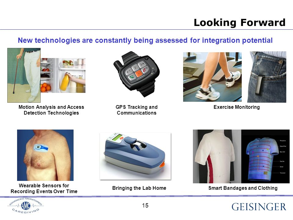 Looking Forward New technologies are constantly being assessed for integration potential Motion Analysis and Access Detection Technologies GPS Tracking and Communications Exercise Monitoring Wearable Sensors for Recording Events Over Time Smart Bandages and ClothingBringing the Lab Home 15