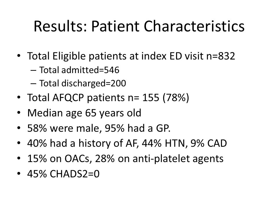 Results: Patient Characteristics Total Eligible patients at index ED visit n=832 – Total admitted=546 – Total discharged=200 Total AFQCP patients n= 1