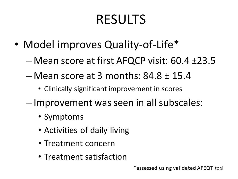 RESULTS Model improves Quality-of-Life* – Mean score at first AFQCP visit: 60.4 ±23.5 – Mean score at 3 months: 84.8 ± 15.4 Clinically significant imp