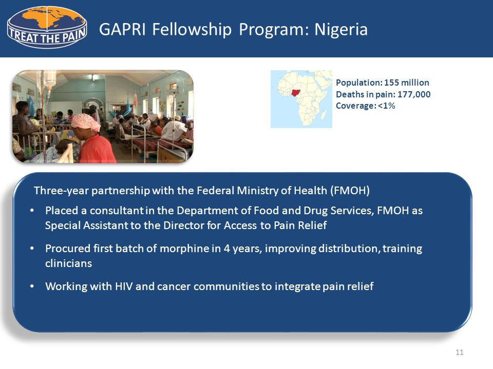 11 GAPRI Fellowship Program: Nigeria Three-year partnership with the Federal Ministry of Health (FMOH) Placed a consultant in the Department of Food and Drug Services, FMOH as Special Assistant to the Director for Access to Pain Relief Procured first batch of morphine in 4 years, improving distribution, training clinicians Working with HIV and cancer communities to integrate pain relief Population: 155 million Deaths in pain: 177,000 Coverage: <1%