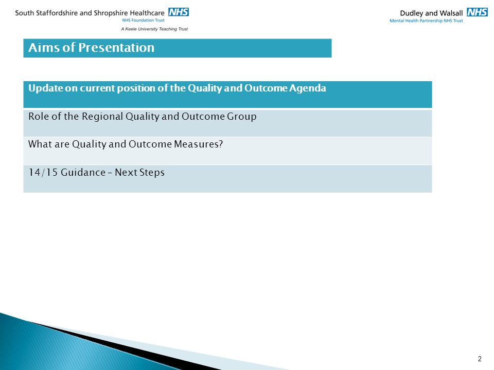 2 Aims of Presentation Update on current position of the Quality and Outcome Agenda Role of the Regional Quality and Outcome Group What are Quality an