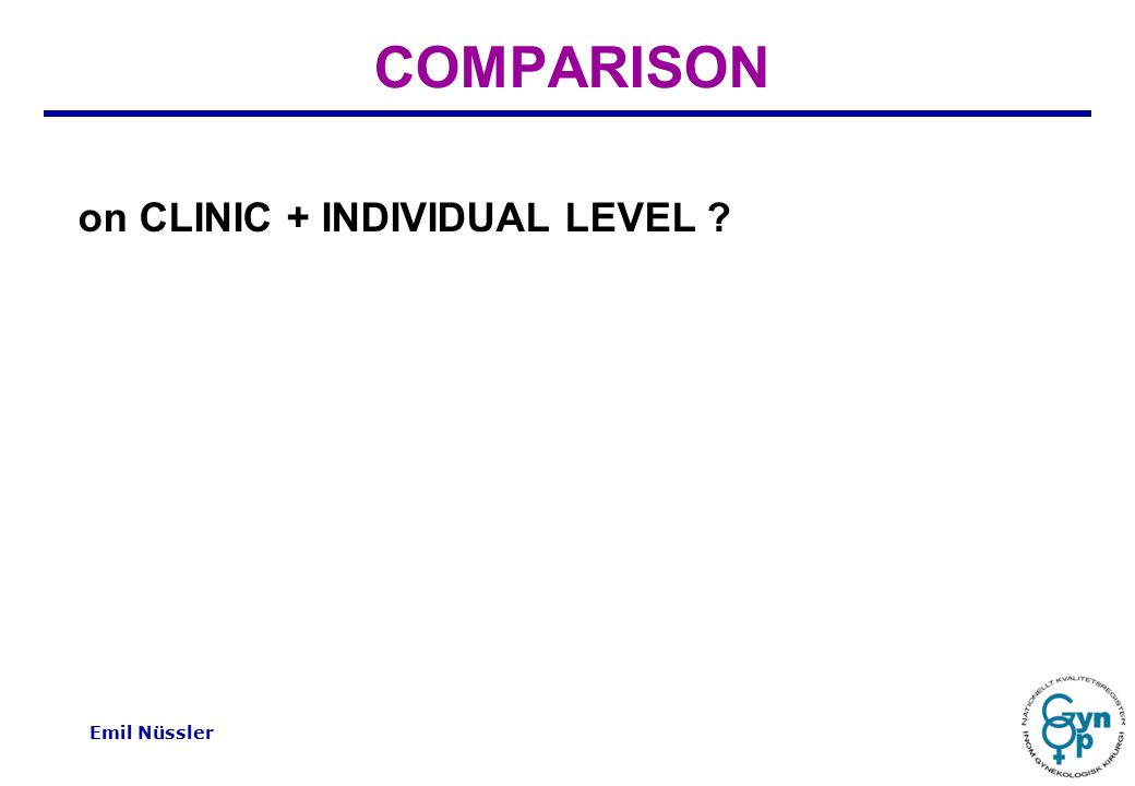 Emil Nüssler COMPARISON on CLINIC + INDIVIDUAL LEVEL