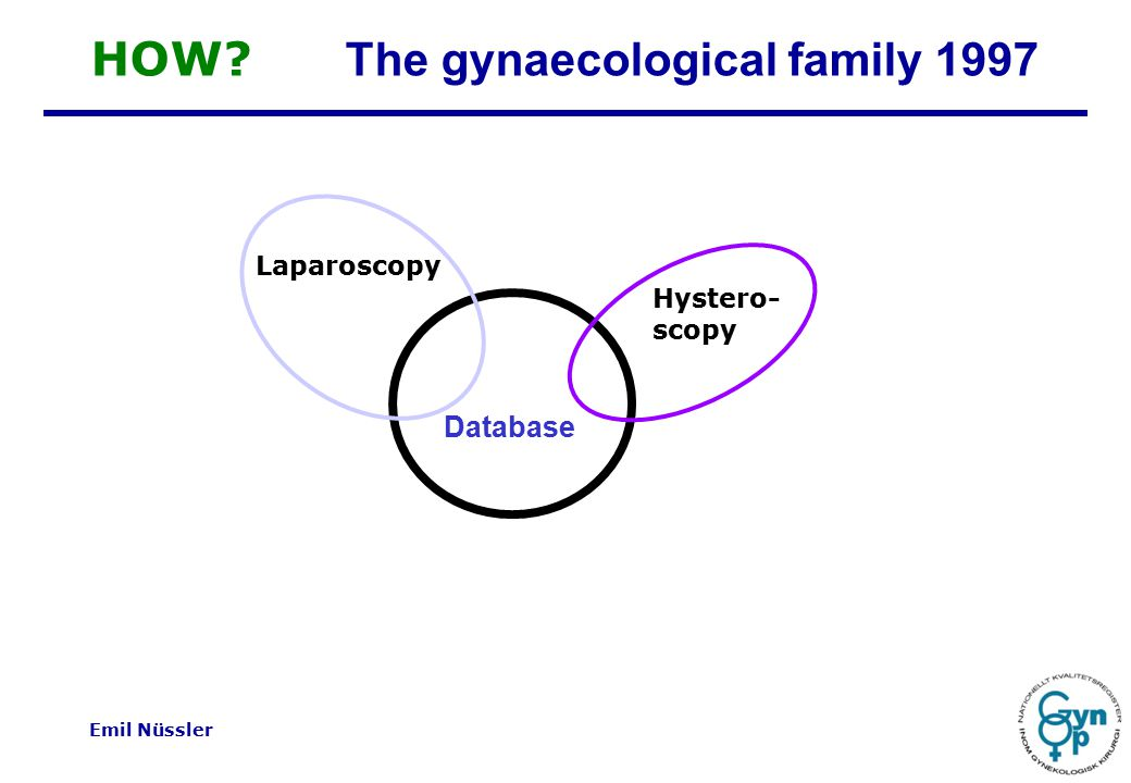 Emil Nüssler Database Laparoscopy Hystero- scopy HOW The gynaecological family 1997