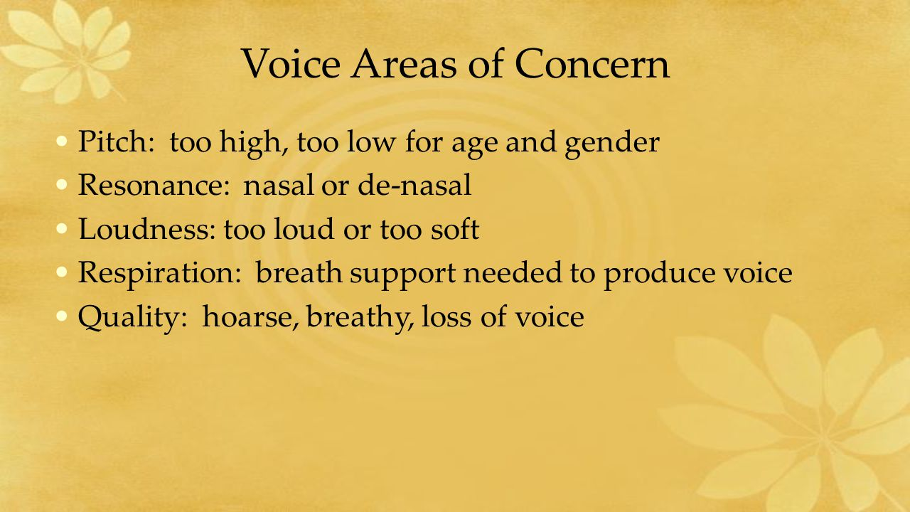 Voice Areas of Concern Pitch: too high, too low for age and gender Resonance: nasal or de-nasal Loudness: too loud or too soft Respiration: breath support needed to produce voice Quality: hoarse, breathy, loss of voice