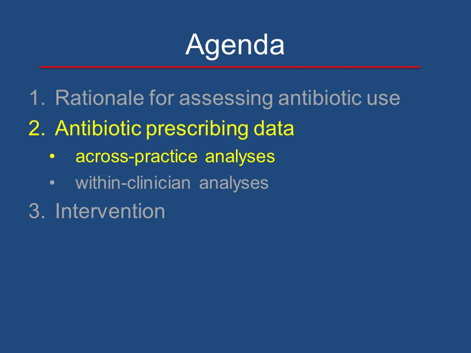 Agenda 1.Rationale for assessing antibiotic use 2.Antibiotic prescribing data across-practice analyses within-clinician analyses 3.Intervention