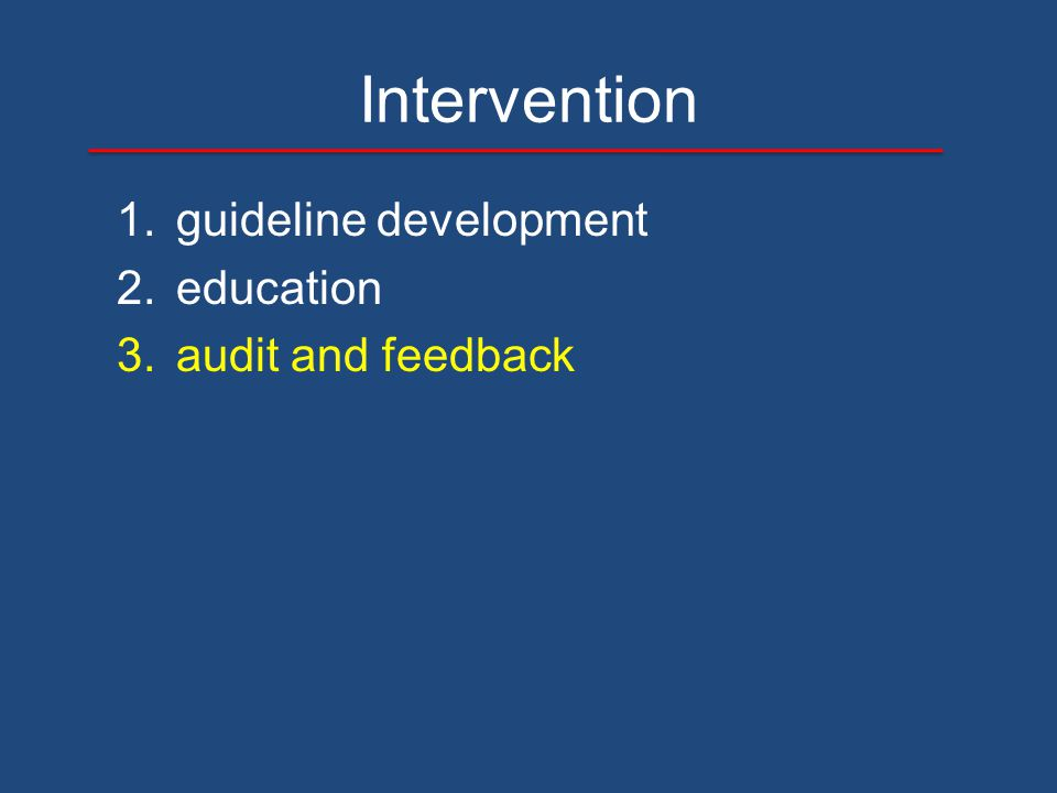 Intervention 1.guideline development 2.education 3.audit and feedback