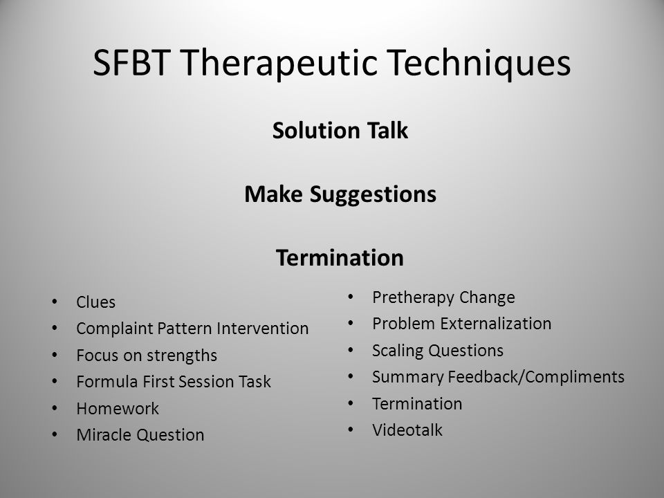 SFBT Therapeutic Techniques Clues Complaint Pattern Intervention Focus on strengths Formula First Session Task Homework Miracle Question Pretherapy Ch