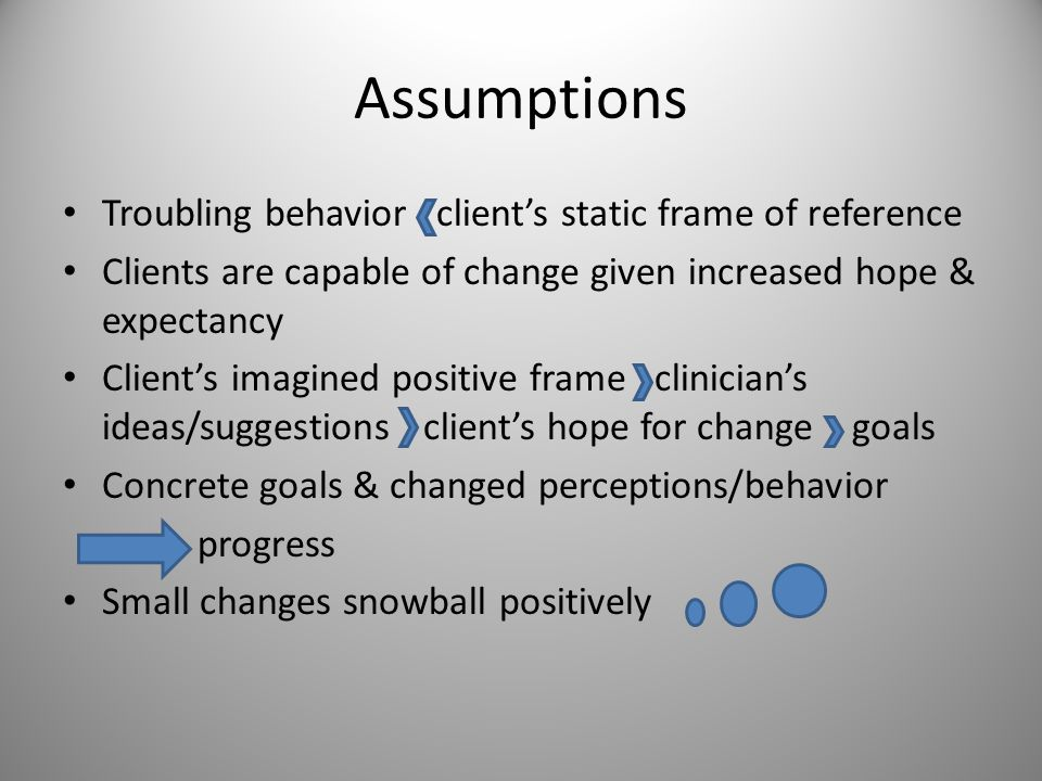 Assumptions Troubling behavior client's static frame of reference Clients are capable of change given increased hope & expectancy Client's imagined po