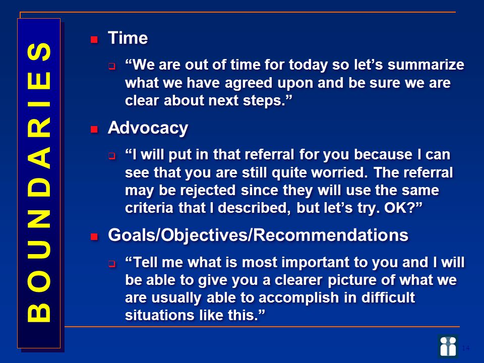 14 Time  We are out of time for today so let's summarize what we have agreed upon and be sure we are clear about next steps. Advocacy  I will put in that referral for you because I can see that you are still quite worried.