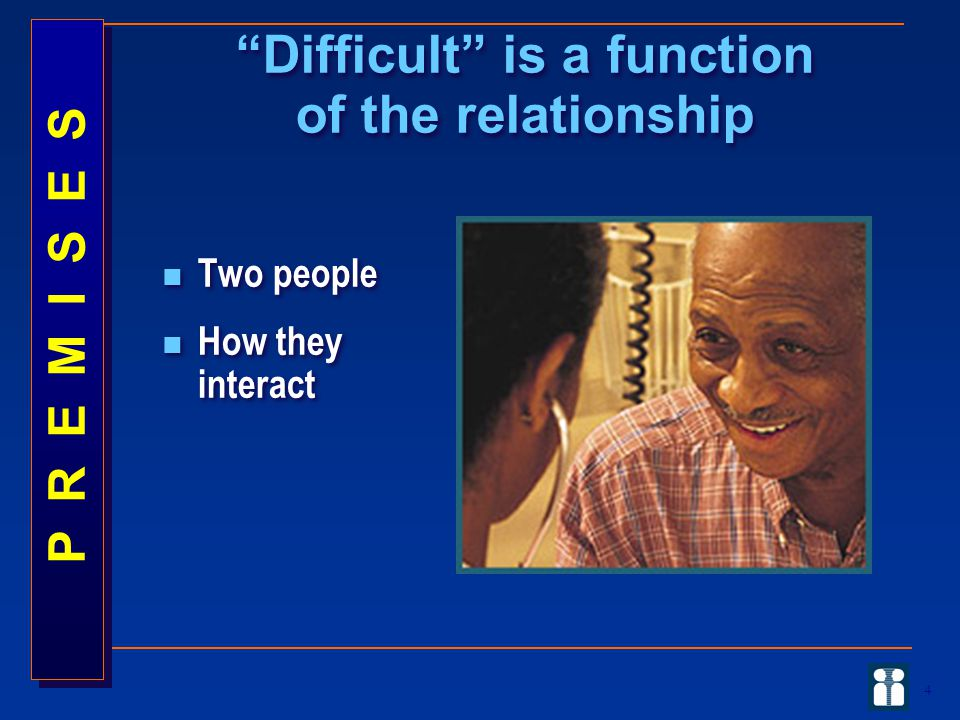 4 Two people How they interact Two people How they interact Difficult is a function of the relationship P R E M I S E S