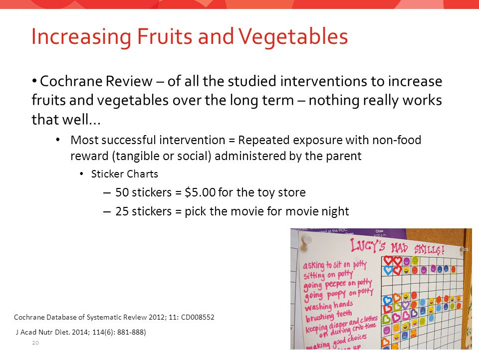 Increasing Fruits and Vegetables 20 Cochrane Review – of all the studied interventions to increase fruits and vegetables over the long term – nothing really works that well… Most successful intervention = Repeated exposure with non-food reward (tangible or social) administered by the parent Sticker Charts – 50 stickers = $5.00 for the toy store – 25 stickers = pick the movie for movie night Cochrane Database of Systematic Review 2012; 11: CD008552 J Acad Nutr Diet.