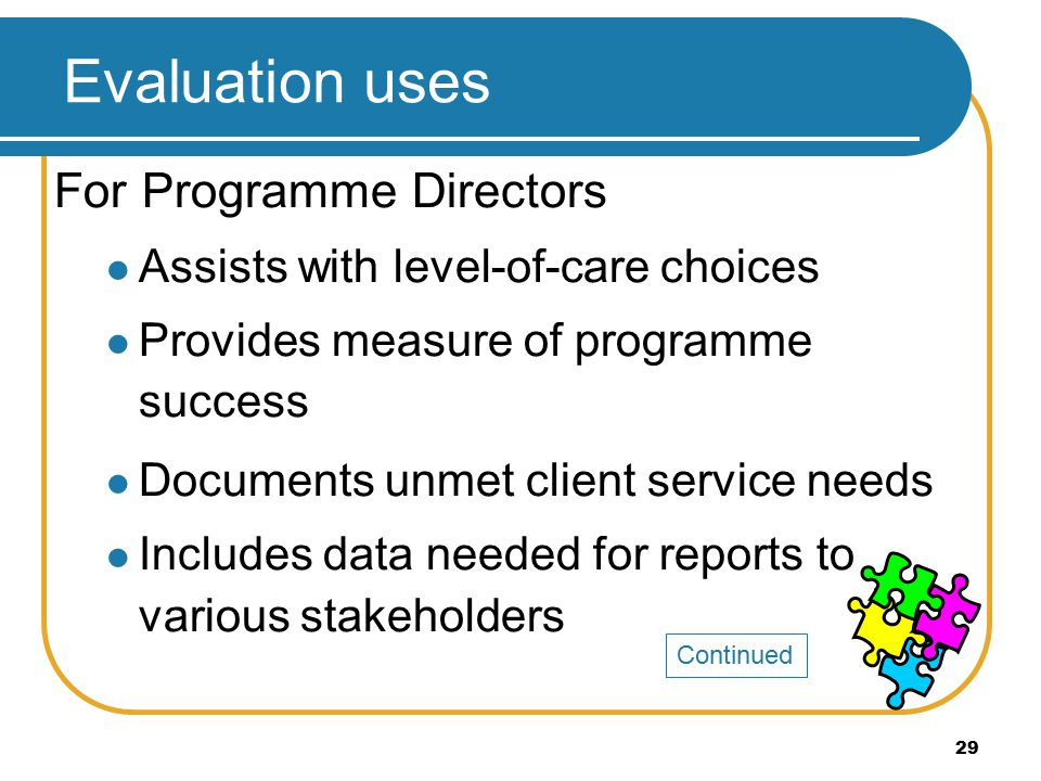 29 For Programme Directors Assists with level-of-care choices Provides measure of programme success Documents unmet client service needs Includes data