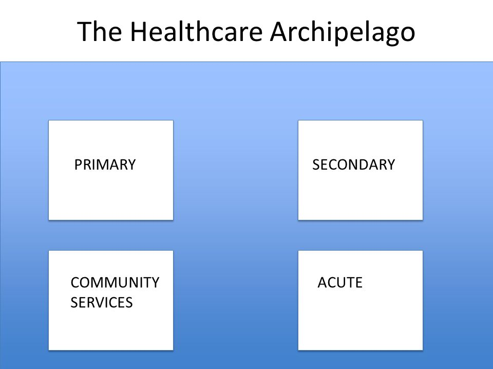 The Healthcare Archipelago PRIMARY SECONDARY COMMUNITY ACUTE SERVICES