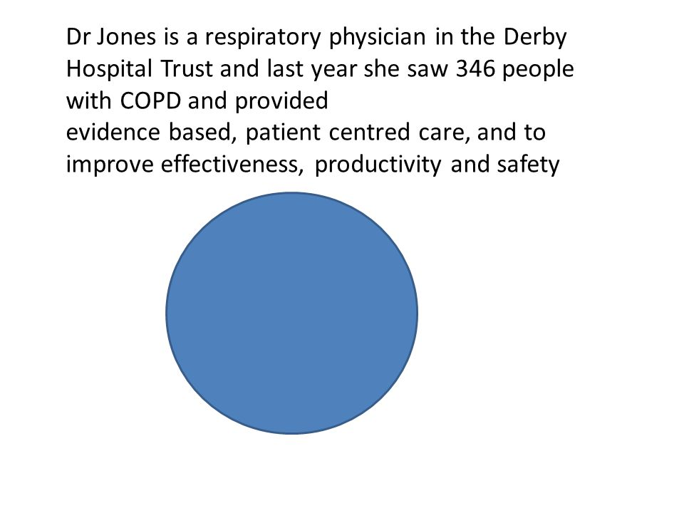 Dr Jones is a respiratory physician in the Derby Hospital Trust and last year she saw 346 people with COPD and provided evidence based, patient centre