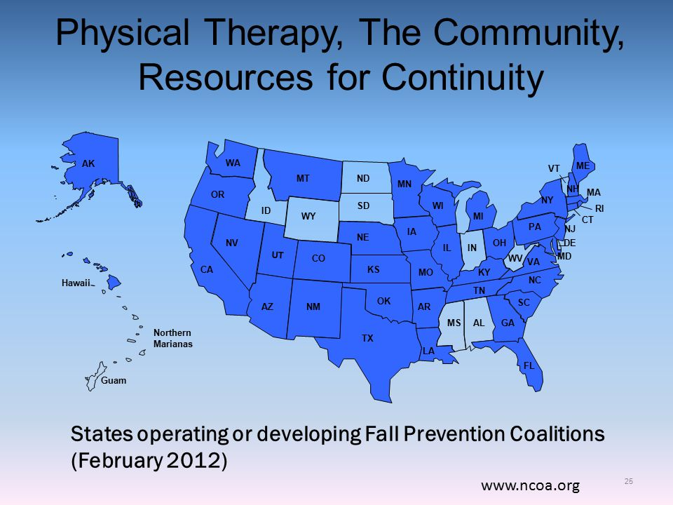 Physical Therapy, The Community, Resources for Continuity 25 www.ncoa.org