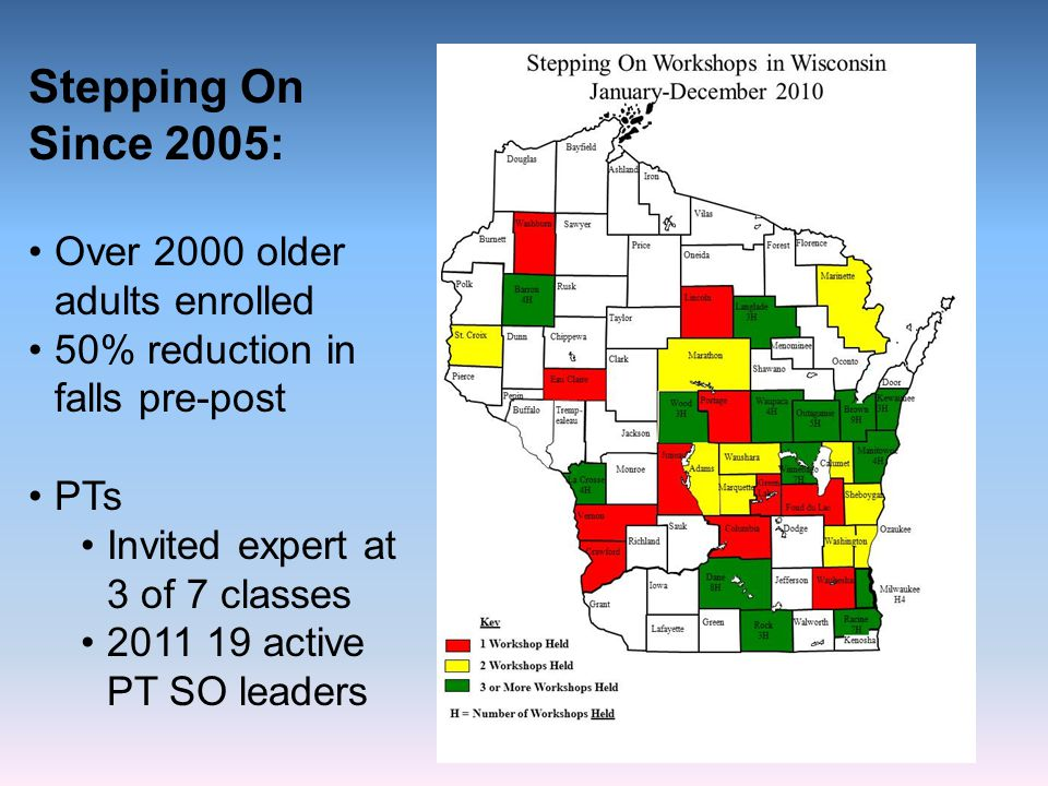 Stepping On Since 2005: Over 2000 older adults enrolled 50% reduction in falls pre-post PTs Invited expert at 3 of 7 classes 2011 19 active PT SO lead