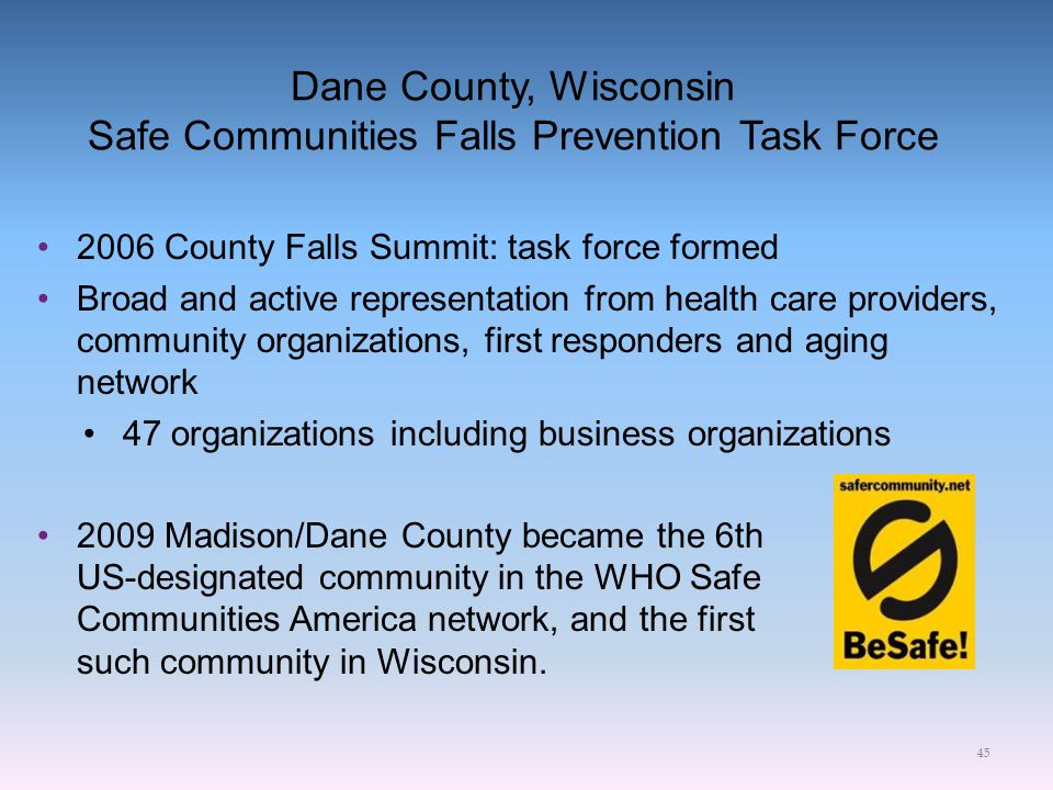 Dane County, Wisconsin Safe Communities Falls Prevention Task Force 2006 County Falls Summit: task force formed Broad and active representation from h