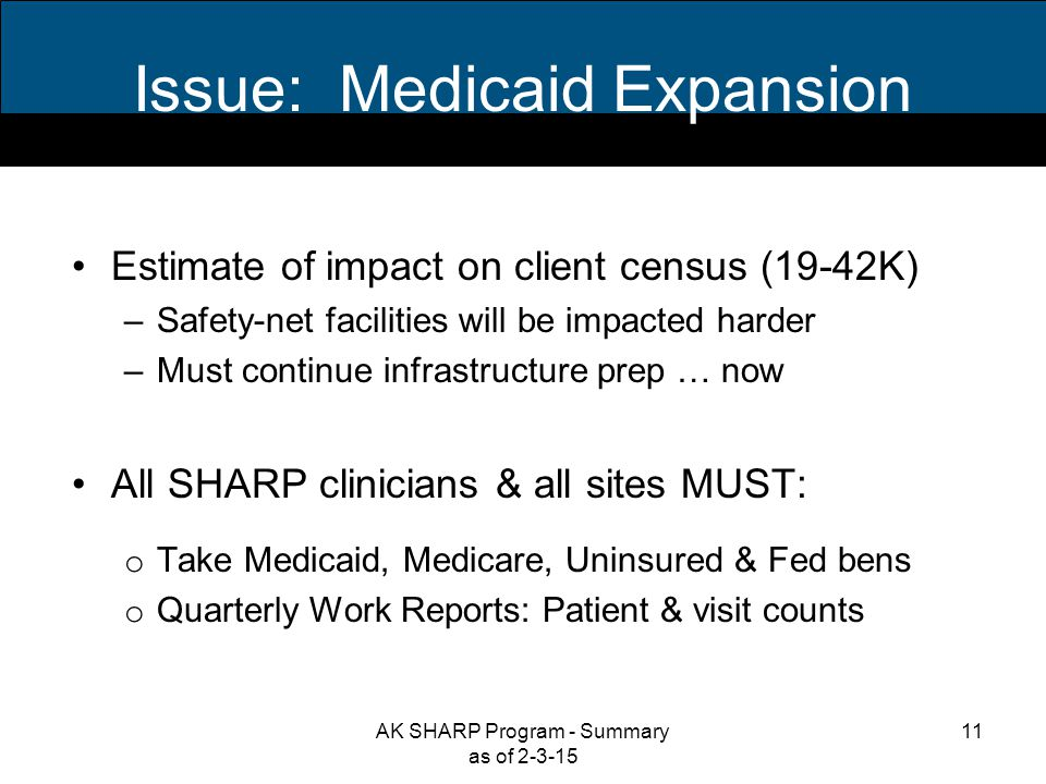 Issue: Medicaid Expansion Estimate of impact on client census (19-42K) –Safety-net facilities will be impacted harder –Must continue infrastructure prep … now All SHARP clinicians & all sites MUST: o Take Medicaid, Medicare, Uninsured & Fed bens o Quarterly Work Reports: Patient & visit counts 11AK SHARP Program - Summary as of 2-3-15