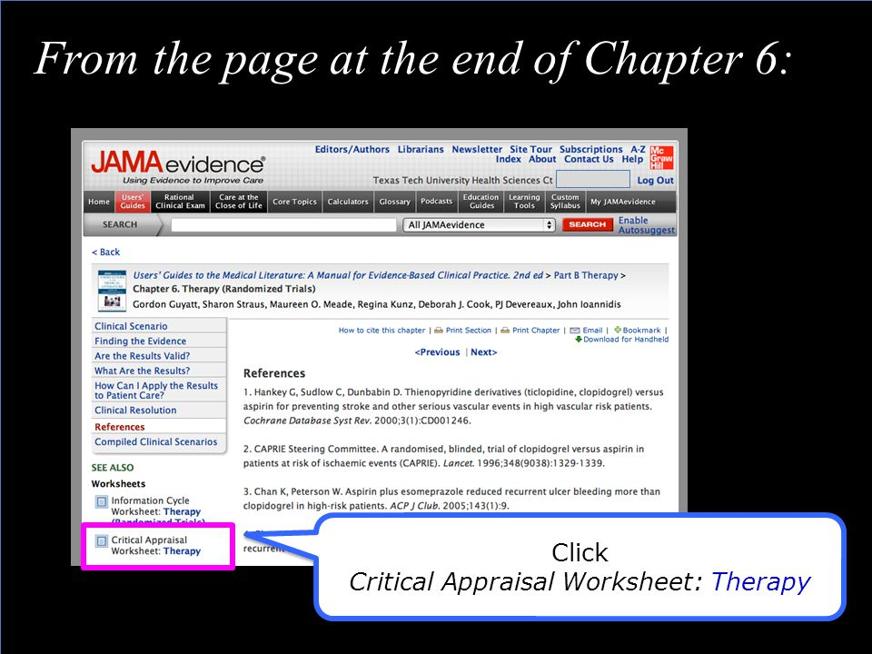 Click Critical Appraisal Worksheet: Therapy Click Critical Appraisal Worksheet: Therapy From the page at the end of Chapter 6: