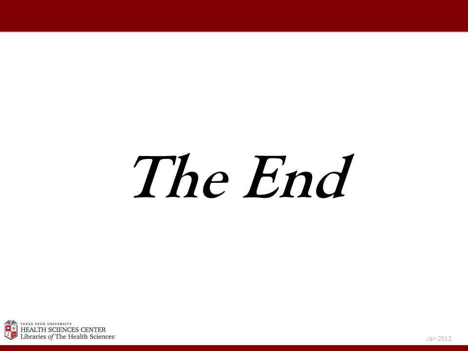 The End Jan 2012