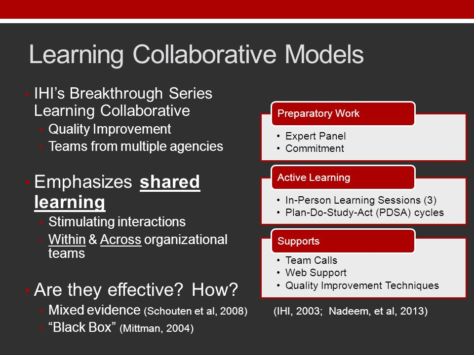 Learning Collaborative Models IHI's Breakthrough Series Learning Collaborative Quality Improvement Teams from multiple agencies Emphasizes shared learning Stimulating interactions Within & Across organizational teams Are they effective.