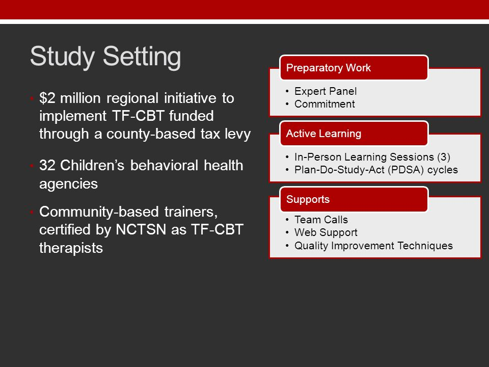 Study Setting $2 million regional initiative to implement TF-CBT funded through a county-based tax levy 32 Children's behavioral health agencies Community-based trainers, certified by NCTSN as TF-CBT therapists Expert Panel Commitment Preparatory Work In-Person Learning Sessions (3) Plan-Do-Study-Act (PDSA) cycles Active Learning Team Calls Web Support Quality Improvement Techniques Supports