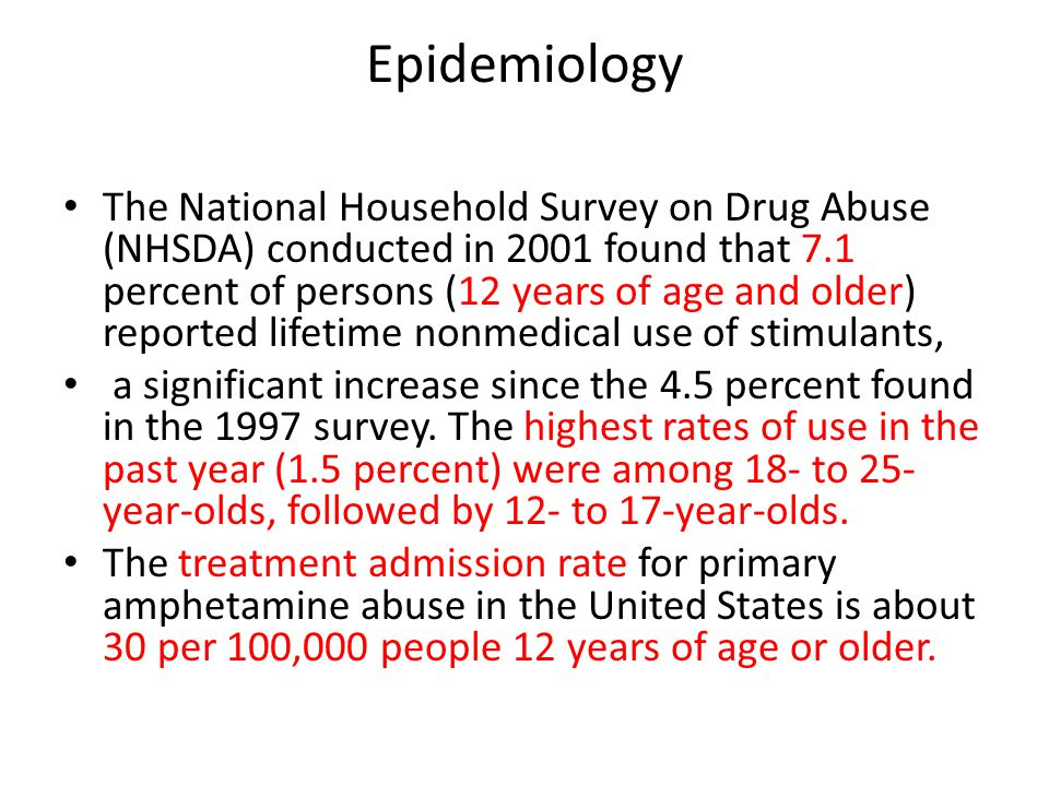 Epidemiology The National Household Survey on Drug Abuse (NHSDA) conducted in 2001 found that 7.1 percent of persons (12 years of age and older) repor