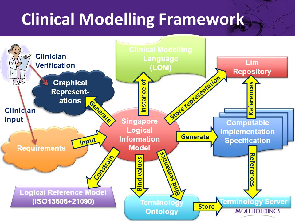 Requirements Clinician Verification Graphical Represent- ations Clinician Input Clinical Modelling Framework Singapore Logical Information Model Clini