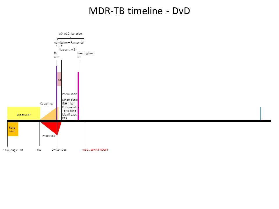 MDR-TB timeline - DvD w10…WHAT NOW? -16w, Aug 2010 Exposure? 0w, 24 Dec Dx 48h Resp unit w0-w10, Isolation Admission – Rx started 18 Feb Hearing loss: