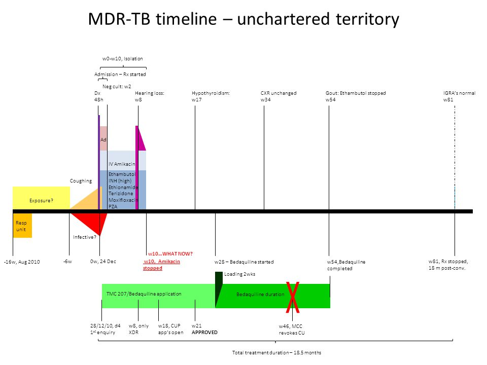 MDR-TB timeline – unchartered territory w10, Amikacin stopped -16w, Aug 2010 Exposure? 0w, 24 Dec Dx 48h Resp unit w0-w10, Isolation Admission – Rx st