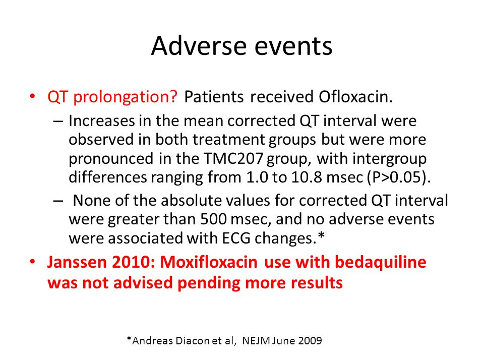 Adverse events QT prolongation? Patients received Ofloxacin. – Increases in the mean corrected QT interval were observed in both treatment groups but
