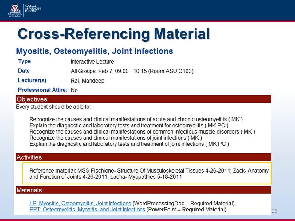 Cross-Referencing Material 28