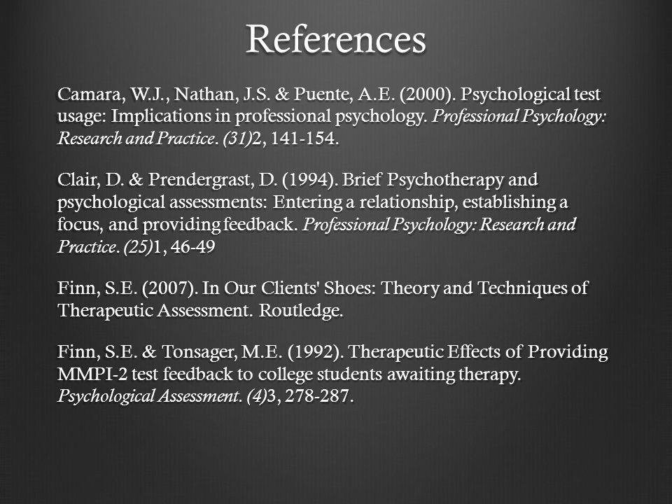 References Camara, W.J., Nathan, J.S. & Puente, A.E.