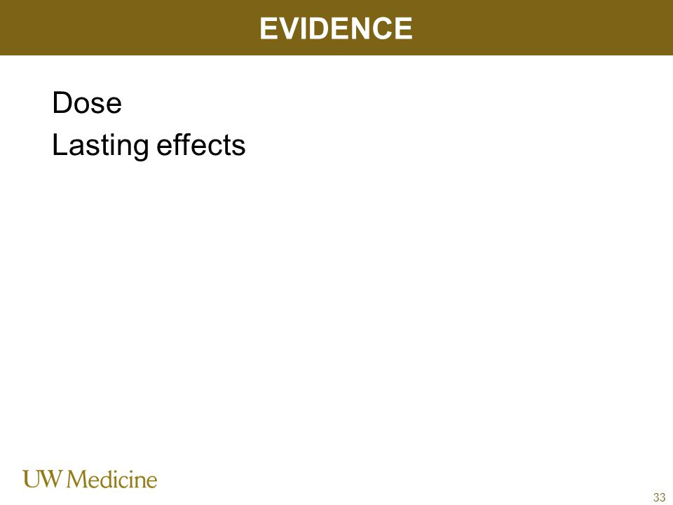 Dose Lasting effects EVIDENCE 33