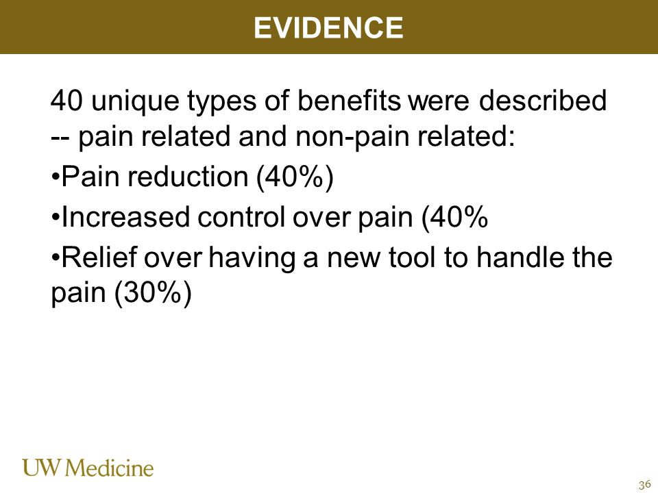 40 unique types of benefits were described -- pain related and non-pain related: Pain reduction (40%) Increased control over pain (40% Relief over having a new tool to handle the pain (30%) EVIDENCE 36