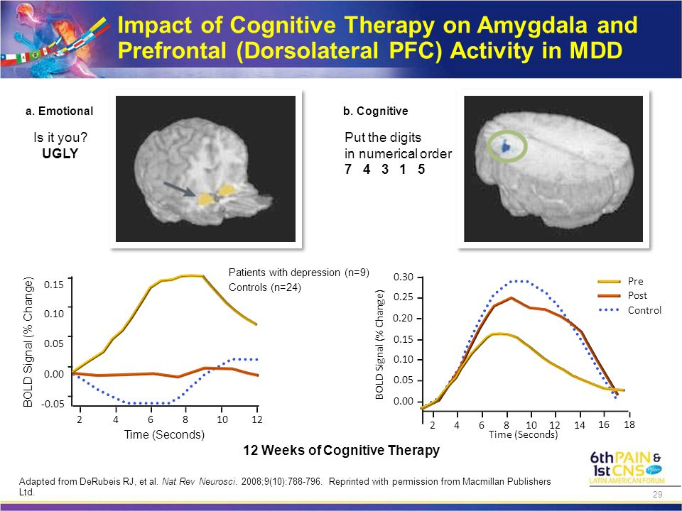 Impact of Cognitive Therapy on Amygdala and Prefrontal (Dorsolateral PFC) Activity in MDD 12 Weeks of Cognitive Therapy 0.15 0.10 0.05 0.00 -0.05 24681012 Time (Seconds) BOLD Signal (% Change) Time (Seconds) BOLD Signal (% Change) 0.30 0.15 0.10 0.05 24681012 14 16 18 0.00 0.20 0.25 Pre Post Control a.