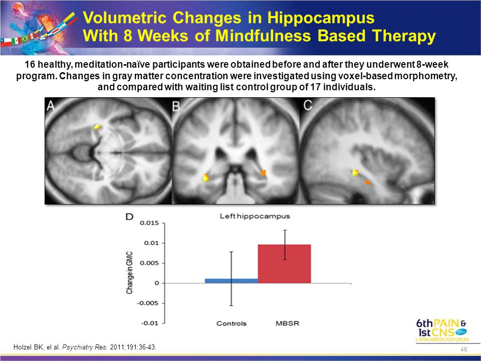 Volumetric Changes in Hippocampus With 8 Weeks of Mindfulness Based Therapy 16 healthy, meditation-naïve participants were obtained before and after they underwent 8-week program.