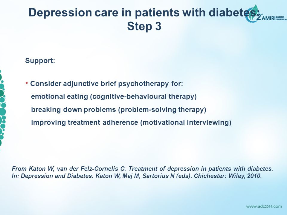 Support: Consider adjunctive brief psychotherapy for: emotional eating (cognitive-behavioural therapy) breaking down problems (problem-solving therapy) improving treatment adherence (motivational interviewing) Depression care in patients with diabetes: Step 3 From Katon W, van der Felz-Cornelis C.