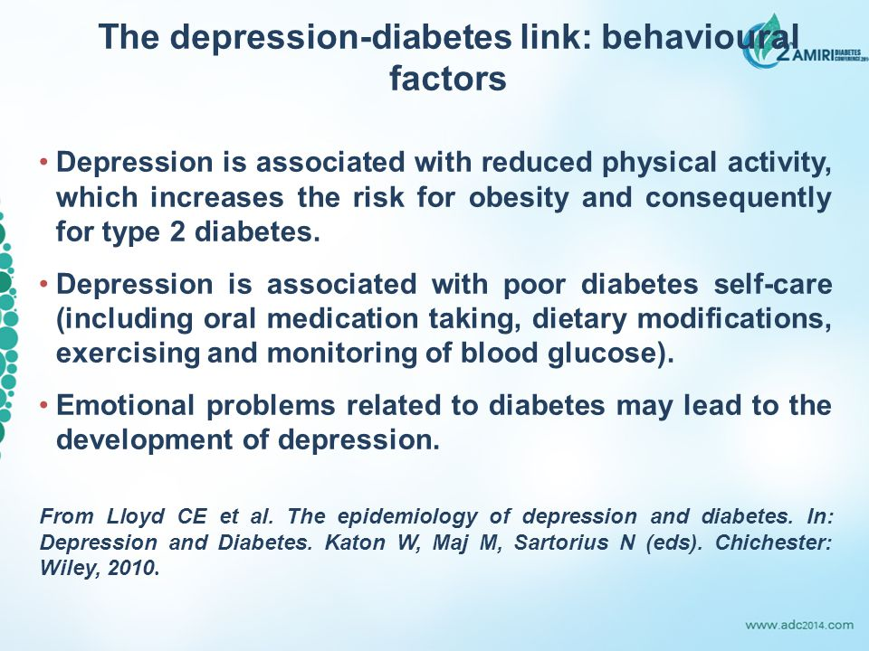 The depression-diabetes link: behavioural factors Depression is associated with reduced physical activity, which increases the risk for obesity and consequently for type 2 diabetes.