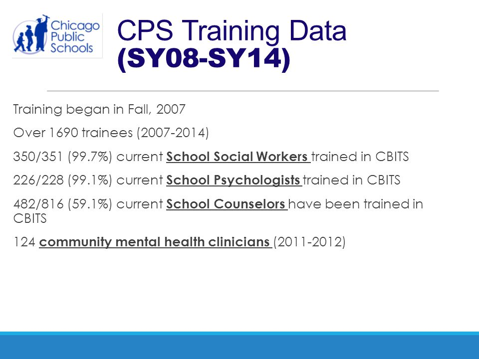 CPS Training Data (SY08-SY14) Training began in Fall, 2007 Over 1690 trainees (2007-2014) 350/351 (99.7%) current School Social Workers trained in CBI