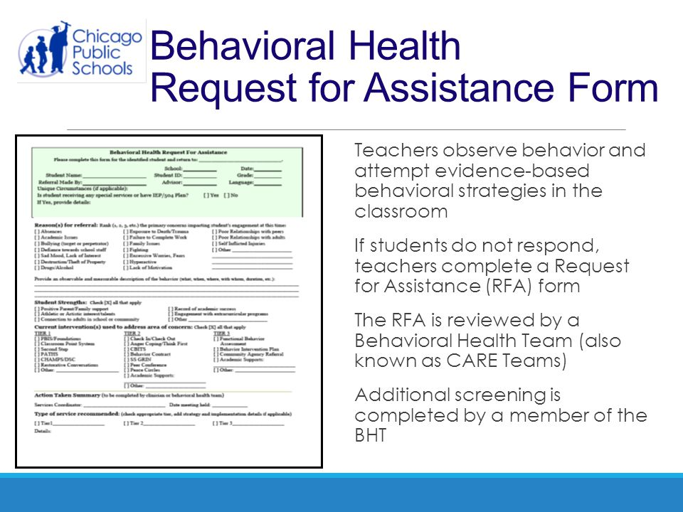 Behavioral Health Request for Assistance Form Teachers observe behavior and attempt evidence-based behavioral strategies in the classroom If students
