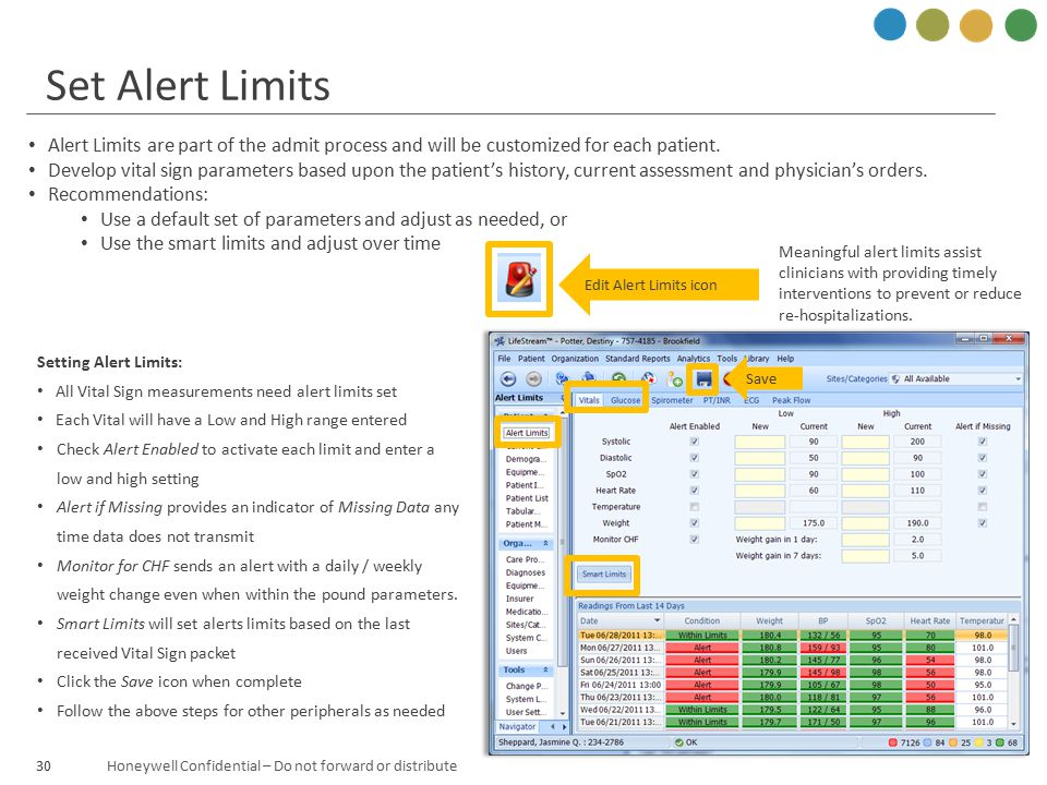 Honeywell Confidential – Do not forward or distribute30 Set Alert Limits Alert Limits are part of the admit process and will be customized for each pa