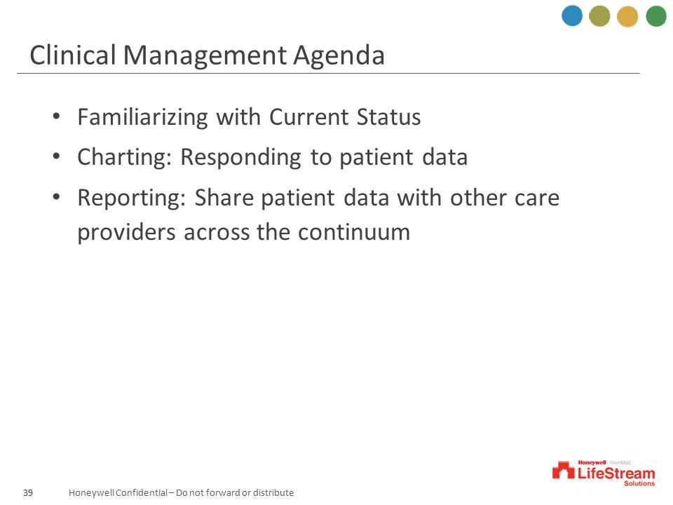 Honeywell Confidential – Do not forward or distribute39 Clinical Management Agenda Familiarizing with Current Status Charting: Responding to patient d